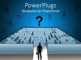 PowerPlugs: PowerPoint template with animated depiction of a human figure in front of a maze