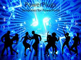 PowerPlugs: PowerPoint template with animated depiction of human figures dancing on a blue background