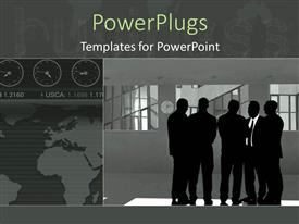 PowerPoint template displaying animated depiction of human figures having a business meeting