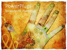 PowerPlugs: PowerPoint template with animated depiction of a human hand with different colorful drawings