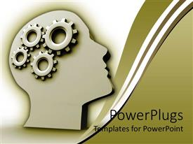PowerPoint template displaying animated depiction of a human head with gear brains
