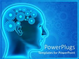 PowerPoint template displaying animated depiction of  human head with gears for brain
