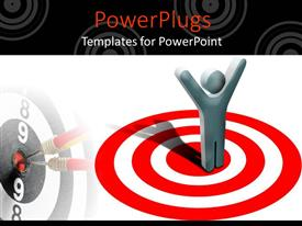 PowerPoint template displaying animated depiction of a human raising hands standing on a target