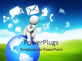 PowerPlugs: PowerPoint template with animated depiction of a human sitting on a globe