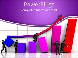 PowerPlugs: PowerPoint template with animated depiction of humans climbing bars and a blue arrow