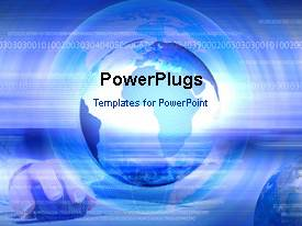PowerPlugs: PowerPoint template with animated depiction of internet with globe,computer mouse and binary numbers