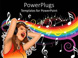PowerPlugs: PowerPoint template with animated depiction of a lady with headphones listening to music