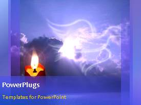 PowerPlugs: PowerPoint template with animated depiction of lighted candle with bird flying in cloudy sky