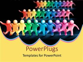 PowerPlugs: PowerPoint template with animated depiction of lots of multi colored humans dancing