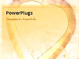 PowerPoint template displaying animated depiction of love with large heart shape on colorful background