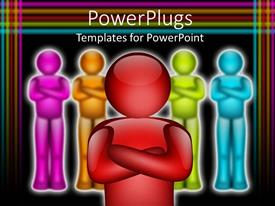 PowerPlugs: PowerPoint template with animated depiction of multi colored humans with a red one in front
