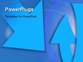 PowerPlugs: PowerPoint template with animated depiction with rotating curved arrows in blue surface