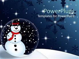 PowerPlugs: PowerPoint template with animated depiction of a snow man with shinning starts