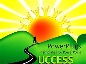PowerPlugs: PowerPoint template with animated depiction of a sun and a man walking towards it