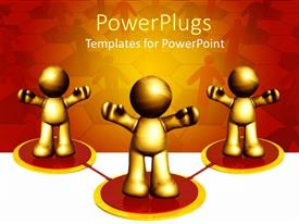 PowerPlugs: PowerPoint template with animated depiction of three gold colored humans standing