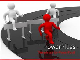 PowerPlugs: PowerPoint template with animated depiction of three red and white human figures running