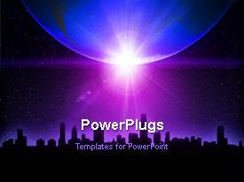 PowerPlugs: PowerPoint template with animated depiction with transparent globe over silhouette of modern city