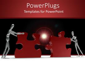 PowerPlugs: PowerPoint template with animated depiction of two humans pushing two red puzzles