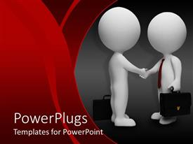 PowerPlugs: PowerPoint template with animated depiction of two humans shaking hands with briefcases