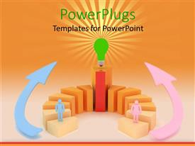 PowerPlugs: PowerPoint template with animated depiction two humans standing on orang and red bars