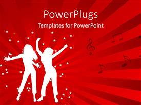 PowerPlugs: PowerPoint template with animated depiction of two ladies dancing on a red background