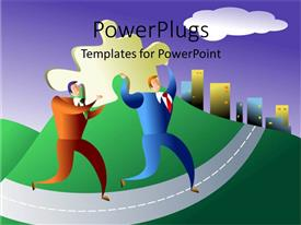 PowerPoint template displaying animated depiction of two men carrying a yellow puzzle piece