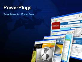 PowerPlugs: PowerPoint template with animated depiction of the WEB with collage of web browser pages