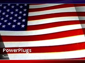 PowerPlugs: PowerPoint template with animated depiction of wind blowing American flag on blue surface