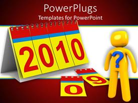 PowerPlugs: PowerPoint template with animated depiction a yellow human with blue question mark