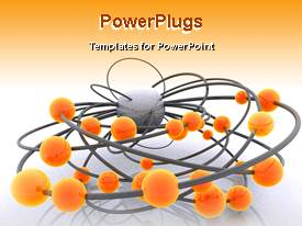 PowerPoint template displaying animated digital network with orange glowing balls on gray cables that are connected to a gray ball