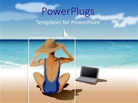 PowerPoint template displaying animated drawing of a lady wearing a hat with a laptop sitting on a beach
