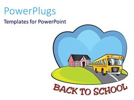 PowerPlugs: PowerPoint template with animated drawing of a yellow school bus leaving a school
