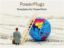 PowerPlugs: PowerPoint template with animated figure of a man with a ladder on an earth globe