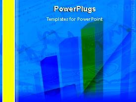 PowerPoint template displaying animated financial bar chart and line graph showing money