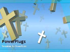 PowerPlugs: PowerPoint template with animated flying crosses in blue sky, religious