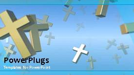 PowerPoint template displaying animated flying crosses in blue sky, religious