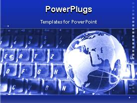 PowerPoint template displaying animated glowing globe on computer keyboard with moving arrows