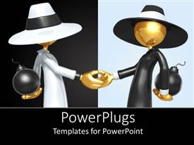 PowerPlugs: PowerPoint template with animated gold colored depiction of two humans shaking hands