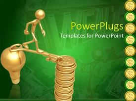 PowerPlugs: PowerPoint template with animated gold colored human figure walking on a key