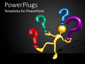 PowerPlugs: PowerPoint template with animated golden human figure balancing four colorful question marks