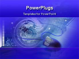 PowerPoint template displaying animated graphics of a mouse on blue background