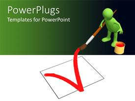 PowerPoint template displaying animated green huamn figure drwing  check sign in a box