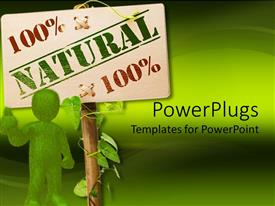 PowerPlugs: PowerPoint template with animated green human figure standing beside a sign post