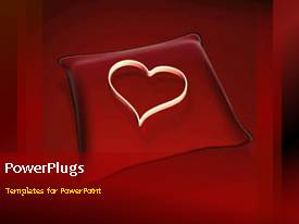 PowerPoint template displaying animated heart on red pillow, red background, wedding, love