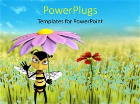 PowerPlugs: PowerPoint template with animated honey bee holding a purple flower as an umbrella