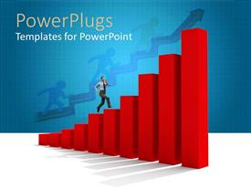 PowerPoint template displaying animated huge red bar chart with a human climbing it