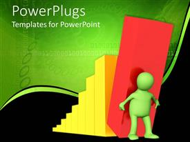 PowerPoint template displaying animated human carrying a red bar with yellow bars behind him