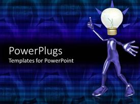 PowerPlugs: PowerPoint template with animated human depiction in blue color with a globe head