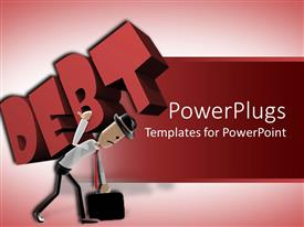 PowerPlugs: PowerPoint template with animated human figure carrying a heavy Debt text on a red background
