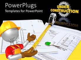 PowerPlugs: PowerPoint template with animated human figure contractor holding a measuring tape over building plans